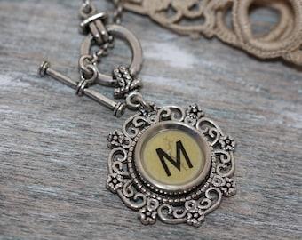 "Typewriter Key Necklace -Vintage White Letter ""M""-Aged Typewriter Letter M-Typewriter Key Penadant-Typewriter Key Jewelry-Initial Letter M"