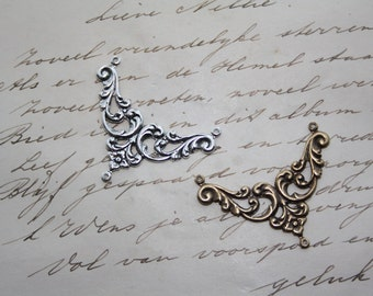 3 PIECES Silver or Brass Silverplated Filigree Connector Stamping Floral Gothic Victorian Ornamental Ornate Antiqued
