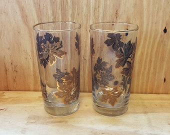 Vintage Tumblers Golden Leaves Barware