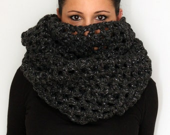 Bling and Sparkle Charcoal Grey Oversized Infinity Scarf , Winter Accessories