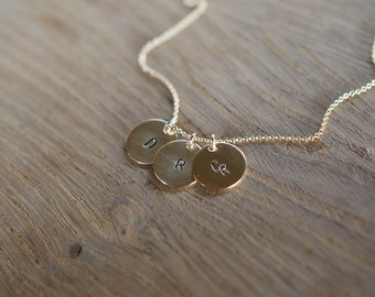 3 disk initial necklace in gold