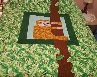 Sloth quilt || Wall-hanging || Customizeable || Hipster gifts || Jungle Nursery