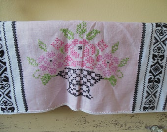 Vintage Pink and Black Table Square with Basket of Roses
