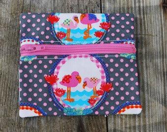Petit porte-monnaie en coton entièrement doublé, coton gris et rose flamants roses
