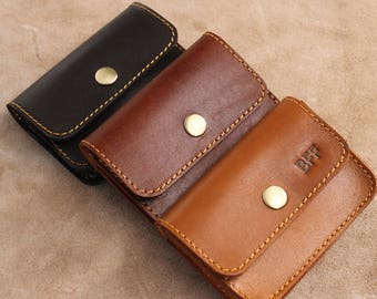 Leather Card Holder Credit Card Holder Business Card Case Leather Name Card Holder Name Card Case- Brown