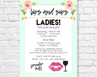 LIPSENSE INVITATION, LipSense Launch party invite, Lips invite, Lips and sips, makeup party invitation, lips and sips party invitation, lips
