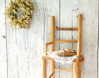 Old Wood Chair Vintage Plant Stand, Rustic Log Child Chair Summer Porch Decor  /0259