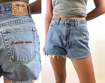 Vintage 90s Love You Custom Denim Cut offs - 90s Light Wash Jean Shorts - Distressed Levis - 28 Waist CHAZZ Originals
