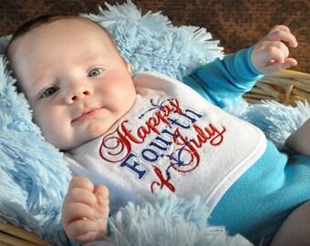 Fourth of July Bib, 4th of July Bib, 4th of July Baby, Fourth of July Baby, 4th of July Accessories, Embroidered Bib, Embroidered Accessory