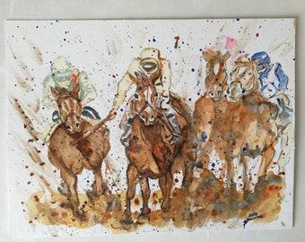 Horse race, watercolor