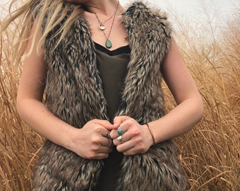 Sleeveless Faux Fur Vest with Hidden Pocket