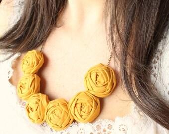 Mustard wedding, Mustard necklace, Mustard fabric flower necklace, Mustard statement necklace