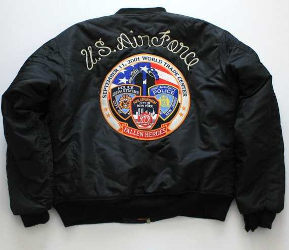 Air Force Jacket 9/11 Military with Patches, 2001 Twin Towers WTC, Fallen Heroes, Lackland AFB, Black Knights, 737th
