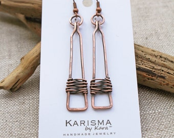 Copper Rectangle Drop Earrings, Oxidized Copper, Wire Jewelry