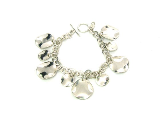 Vintage East Indian Minimalist Sterling Silver Petal Charm Bracelet on Anchor Chain