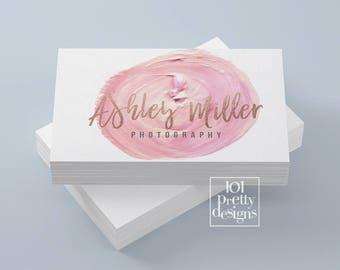 Watercolor business card template rose gold printable business card design gold and pink business card rose gold foil makeup artist