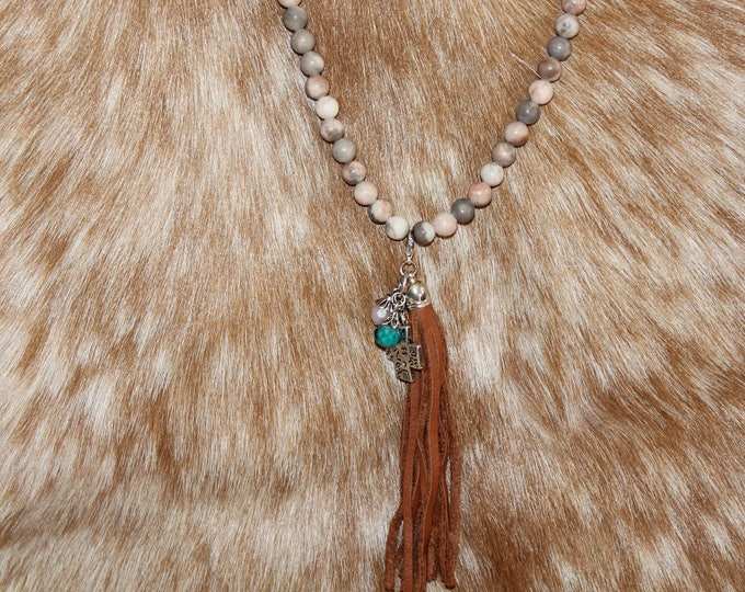 Tassel Necklace with Jasper Stones