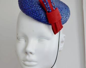 1940'S 1950'S inspired hand made pill box fascinator hat VINTAGE blue red patriotic burlesque mini hat