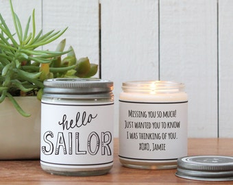 Hello Sailor Scented Soy Candle Gift - Scented Candle - Friend Gift | Boy Friend Gift | Girl Friend Gift | Thinking of You Gift | Soy Candle