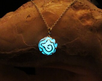 Rose pendant with sterling silver chain glow in the dark