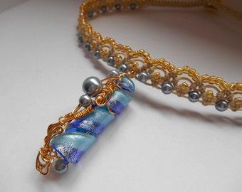 Sun on Bubbles modern macrame choker with handmade pendant