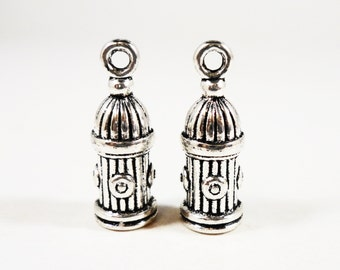 Fire Hydrant Charms 20x7mm Antique Silver Fire Hydrant Pendant, 3D Charms, Fireman Charms, Silver Metal Charms, Craft Supplies, 10pcs