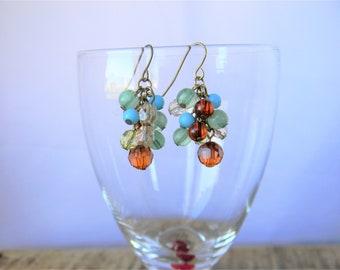 Vintage Bauble Drop Earrings - Multicolor - French Hooks