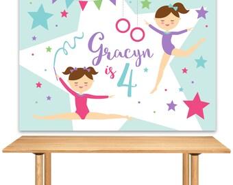 DIGITAL FILE Gymnastics Backdrop, Gymnastics Banner, Gymnastics Decoration, Tumbling Birthday