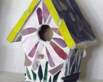 Mosaic Birdhouse-Floral Birdhouse-Birdhouse-Garden Decor-Garden Art