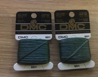 set of 3 spools of thread dmc Mouliné 501 green color embroidery