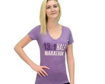 13.1 Half Marathon Never Quit Purple V-Neck T-Shirt- Half Marathon Running Apparel-Running Tee
