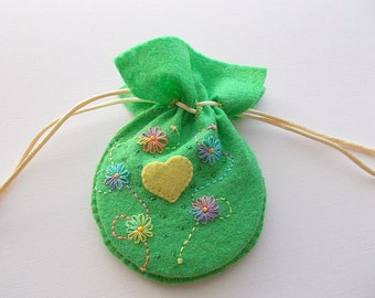 Felt Drawstring Bag Spring Green Pouch Hand Embroidered Flowers Swirls and Dots Handsewn