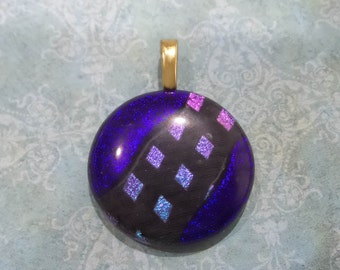 Indigo Blue Fused Glass Pendant, Dichroic Pendant, Blue Jewelry, Omega Slide, Large Gold Bail, Ready to Ship - Jack of Diamonds -3212-2