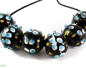 6 Skunk Venetian Trade Beads Double Row Raised Dots Loose Africa 105823