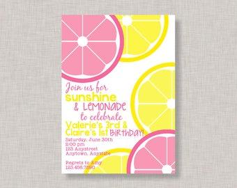 Lemonade Invitation, Lemonade Birthday Invitation, Lemonade Party, Sibling Birthday Invitation, Sister Birthday, Friend, Cousin, Twin