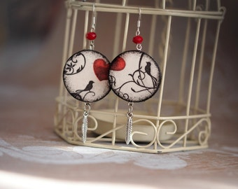 Valentines Earrings, Valentines Day Jewelry, In Love Earrings, Bird Heart Earrings, Love Jewelry Earrings