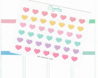 42 Love heart, planner stickers, hearts, checklists, bullet points, dots, reminder, journal, scrapbook, planner decoration, HRT1