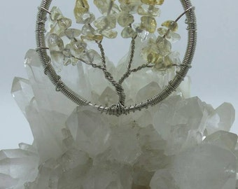 Citrine Tree Of Life Wire Wrapped Pendant.