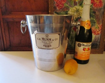 Vintage French Champagne Bucket, Alumium Wine Cooler, French Ice Bucket, G.H Mumm & Cie, French Chic, Alfresco Dining, Large Champage Cooler