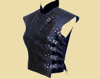 Asymetric soft leather armour in asian style for women