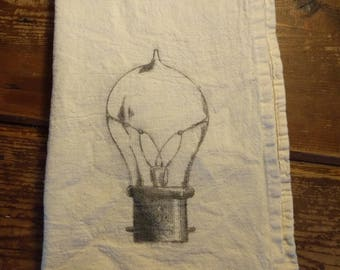 Steampunk Tea Towel. Light Bulb Tea Towel. Tea Towel. Flour Sack Towel. Organic Cotton Tea Towel. Dish Towel. Kitchen Towel.