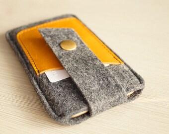 Iphone 8 Plus Case, Felt Phone Case W/ Leather Pocket, Iphone 8 Wallet Phone Case / Iphone 7 Wallet Case