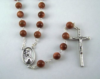 Beautiful Our Lady of Medjugorje Goldstone Rosary (13)