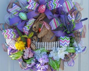 Spring Wreath, Spring Wreaths For Front Door, Spring Door Wreath, Easter Wreath, Easter Decorations, Easter Bunny, Deco Mesh Wreath