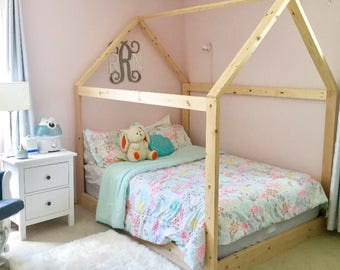 full size bed. Contemporary Bed Full Size House Bed Frame  Slats Chimney Made In US To