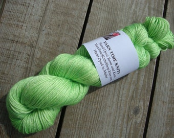 "Hand Dyed Yarn 50/50 Merino Silk Sock Weight ""Chartreuse"""
