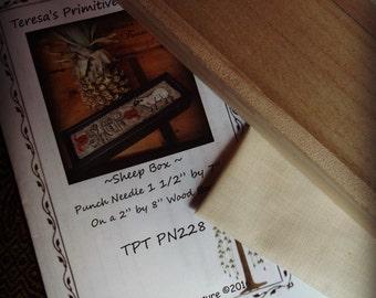 Sheep Punch Needle Paper Pattern Weavers Cloth Wood Box
