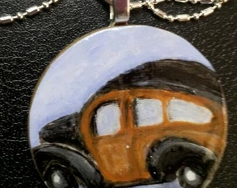 RECYCLED--Old Car--Hand Painted Vintage Panel Van Necklace