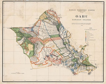 1903 Oahu Map, Territory Survey, Hawaii Print, Hawaii Decor, Hawaii Art, Oahu Print, Oahu Decor, Oahu Art, Oahu Map, Hawaiian Decor