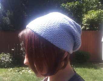 Baby blue Beanie hat - slouchy anti pilling acrylic summer beanie - teen girl gift - light weight - acrylic hat - college - boho look